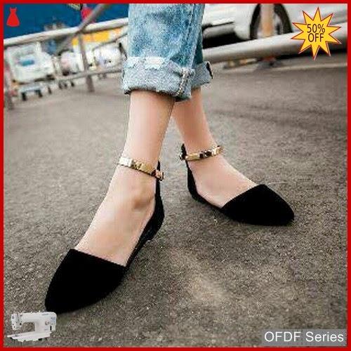 OFDF267 Sepatu Flat Cantik Cherry Lian hitam BMGShop