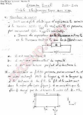 Examen final corrigé Electromagnitique SMP S3 UH2M FSBM