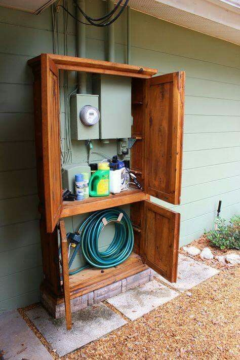 A Perfect Way To Hide Garden Hose And Tools