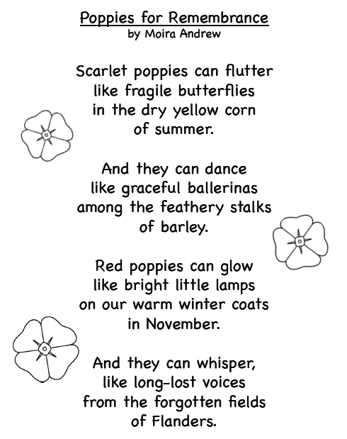 Poppies for Remembrance poem by Moira Andrew