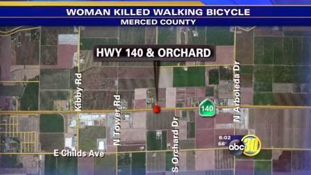 Pedestrian Visalia woman died highway 140 fatality Merced County crash hay truck
