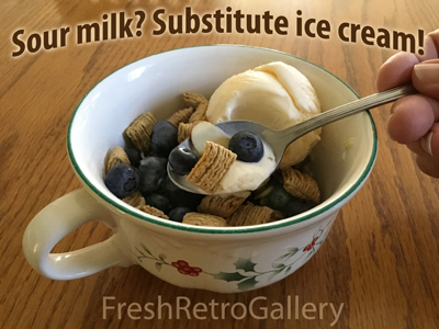 Sour milk ruin your breakfast cereal? Start fresh and substitute ice cream!