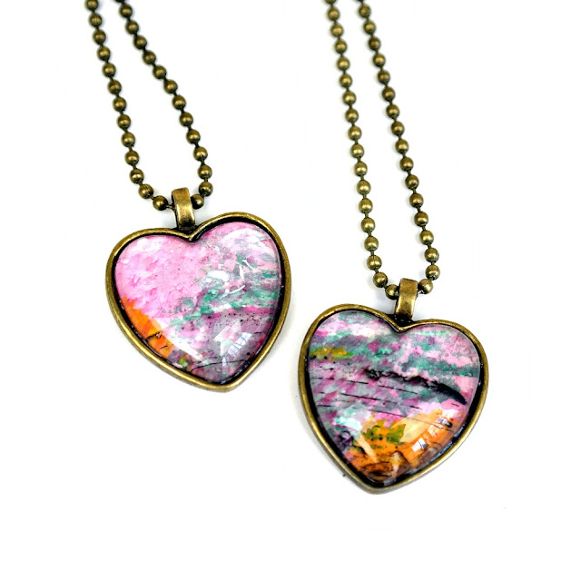 DIY Heart-Shaped Izink Monoprint Pendant Tutorial by Dana Tatar