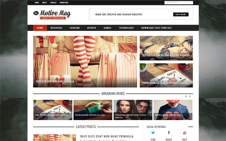 Motive Mag Free Blogger Template