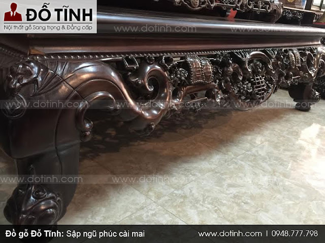 Sập ngũ phúc cài mai - Đồ gỗ nội thất Bắc Giang