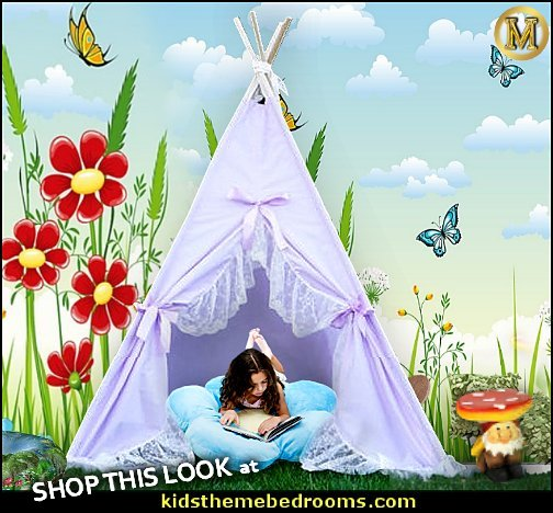 flower garden mural tee pee play tent girls garden playroom  garden bedroom decorating ideas - decorating butterfly garden themed bedrooms - garden theme decor - floral bedding - flower theme bedding - flower wall decals - garden themed wall murals - ladybug bedroom ideas - garden wallpaper murals - flower wall decals - cottage garden theme bedroom furniture - house theme bed - adult garden theme bedrooms - floral bedding - Leaf chair