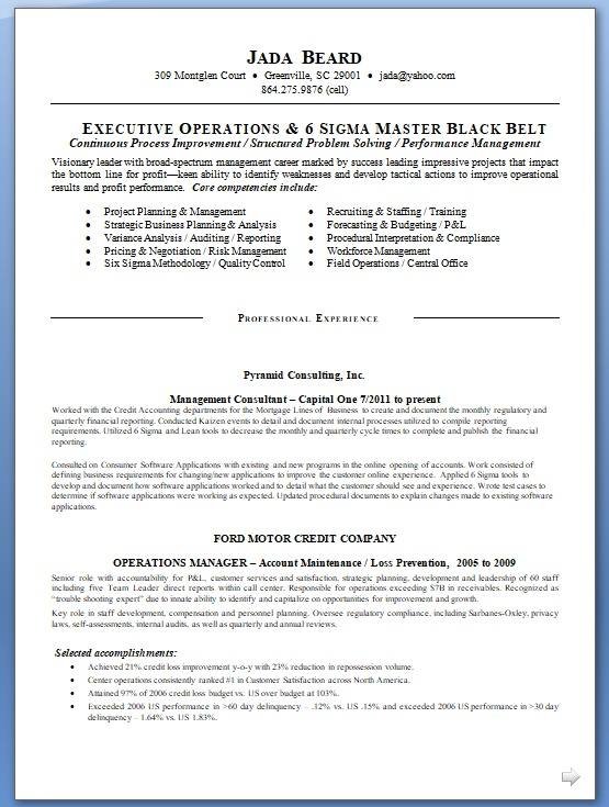 operations executive sample resume format in word free