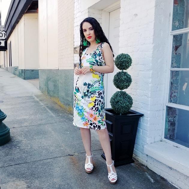 Noracora White Tropical Print Dress