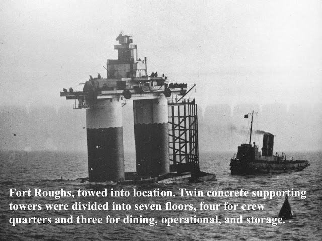 Fort Roughs, WWII British ocean defense platform being towed out to sea for placement. Pirate Radio and Sealand and Other stories of Rock, Radio, and Regulations. Marchmatron.com