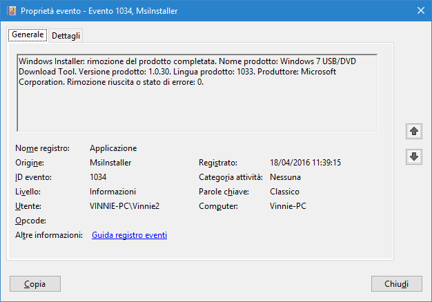 Proprietà evento registro di Windows