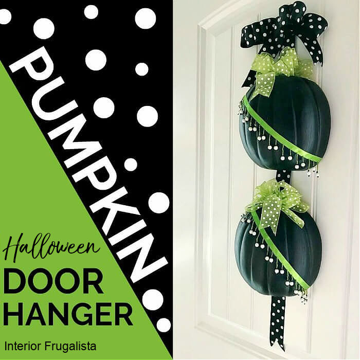 An easy peasy Halloween half pumpkin door hanger that won't scare trick or treaters made with craft pumpkins and assorted green and black ribbon.