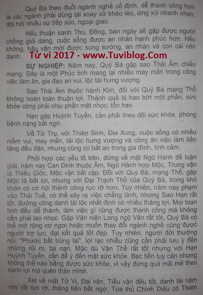 Tu vi 2017 Ky Dau