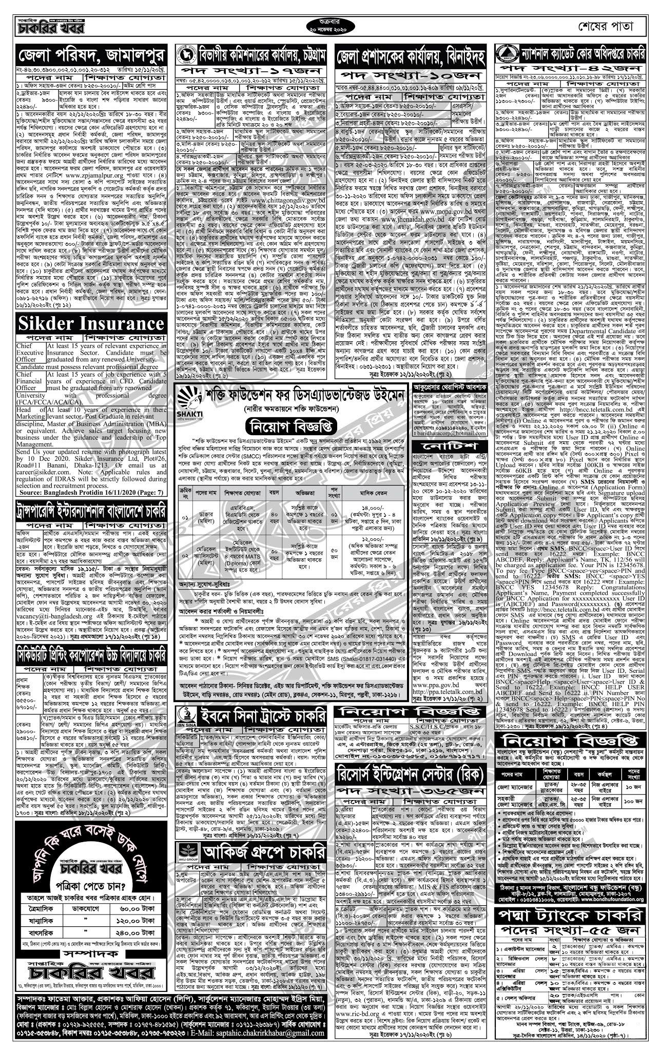 সাপ্তাহিক চাকরির খবর (৪র্থ পাতা)