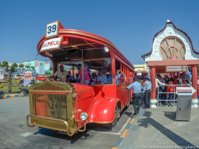 Red Bus for tour Ramoji Film City