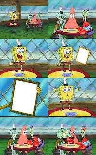 meme spongebob megang bingkai