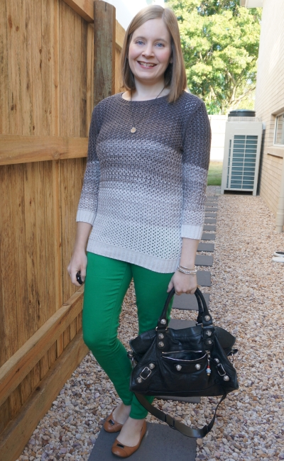 ombre knit with green skinny jeans black balenciaga part time bag SAHM style winter | awayfromblue
