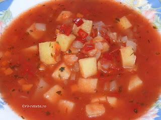 Supa de rosii de post reteta de casa taraneasca cu legume fidea roșii ceapa ardei morcov usturoi si piper retete culinare mancare supe,