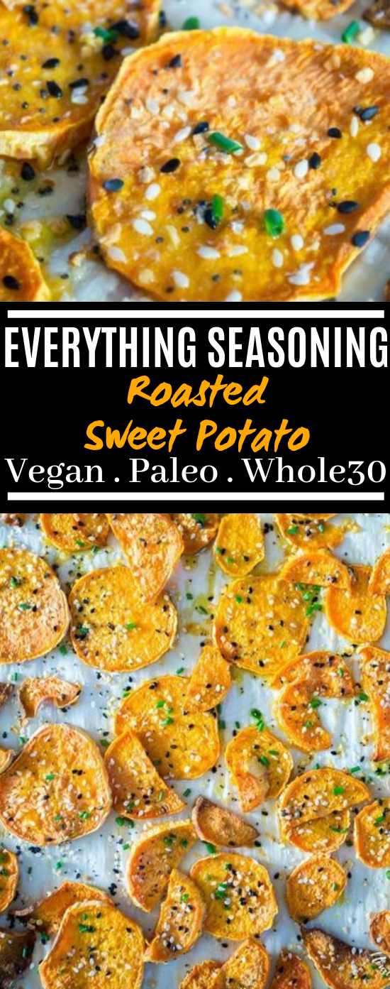 Everything Seasoning Roasted Sweet Potatoes (paleo, vegan, Whole30) #snacks #healthy