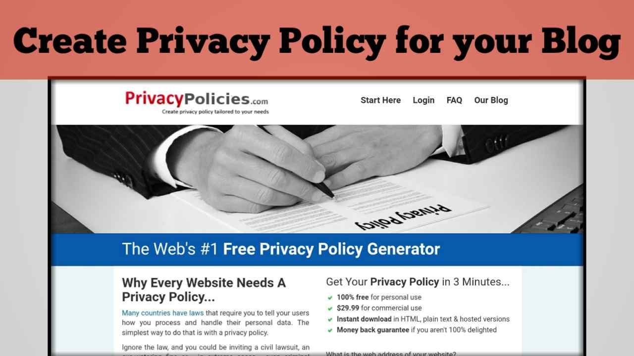 Create Privacy Policy for your Blog