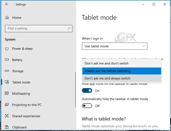 Enable Tablet Mode through Windows Settings - www.ceofix.net