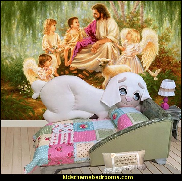 Jesus for kids - Bible Stories wall murals - Christian Bible Verse wall decal stickers - Christian home decor - bible verse wall art - Christian kids toys - Lion and Lamb toddler beds - bible stories for kids - Christening Baptism Gifts - Psalm bedding - Scripture throw pillows - bible verse throw pillows