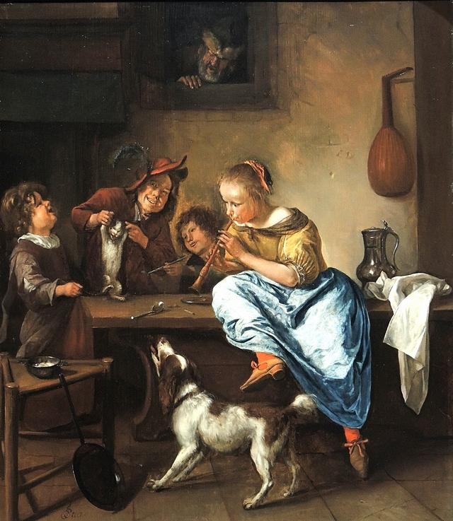 Kinderen die een poes doen dansen  van Jan Steen