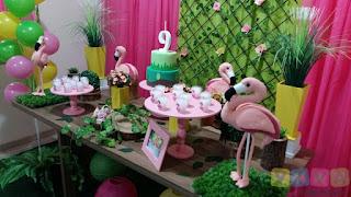 Decoração de festa infantil Flamingos