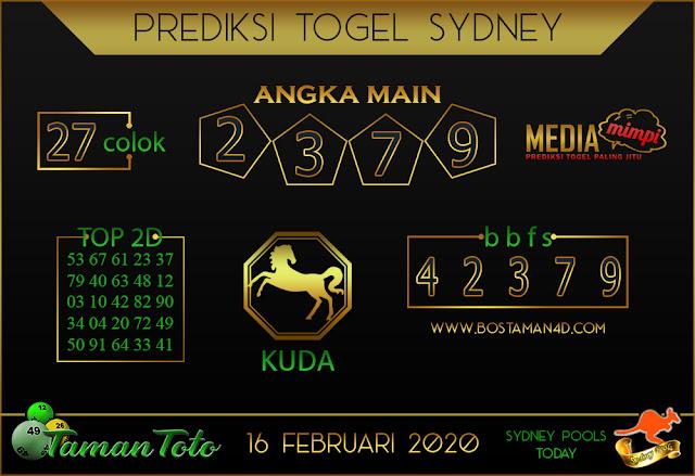 Prediksi Togel SYDNEY TAMAN TOTO 15 FEBRUARY 2020