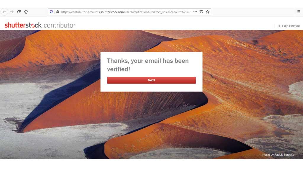 fajriology.com - tampilan pemberitahuan mail terverifikasi oleh shutterstock. Cara mendaftar di microstock, verifikasi akun kontributor