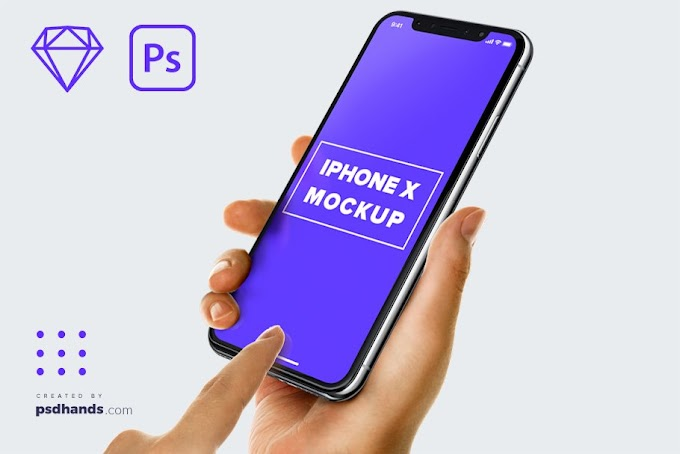 High Resolution Mockup Male Hand Holding iPhone X & Samsung