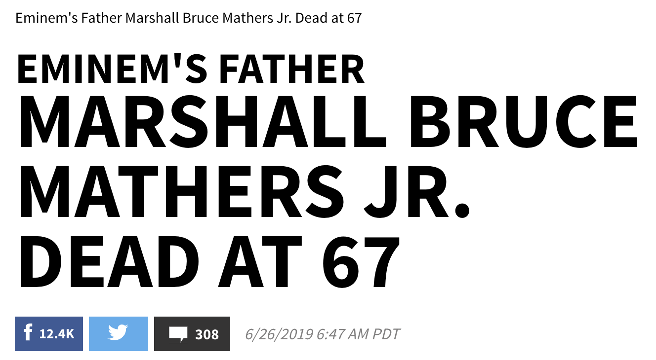 free to find truth: 44 67 | Eminem's father dead at age 67