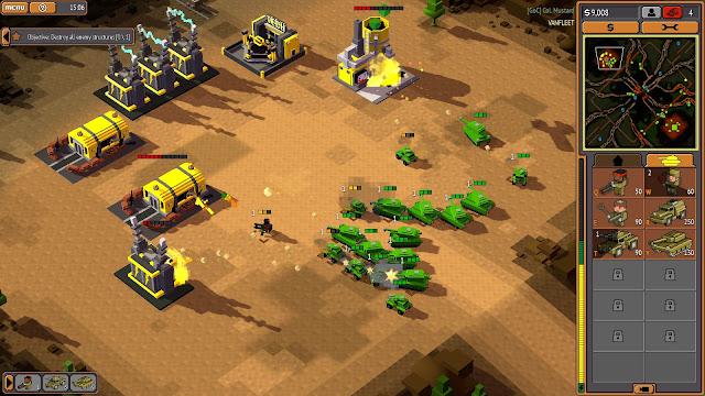 Screenshot of Renegades faction attacking an enemy base in 8-Bit Armies