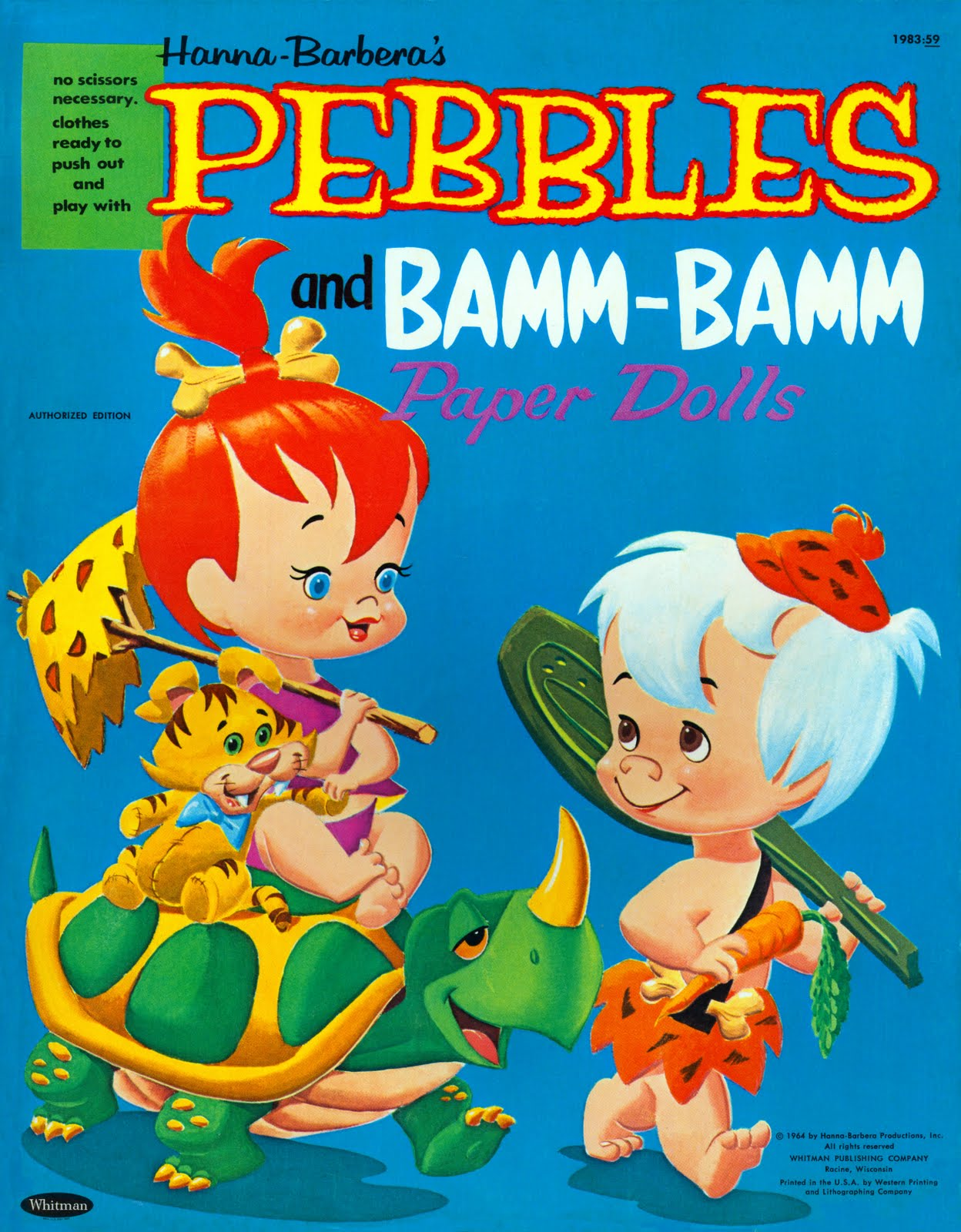 Cover to 'Pebbles and Bamm-Bamm Paper Dolls' book with illustration of the 'Flintstones' toddlers