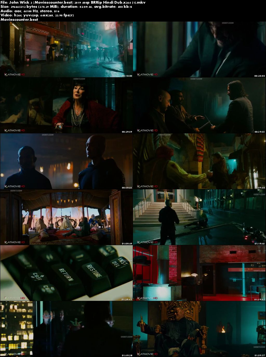 Screen Shots John Wick Chapter 3 Parabellum 2019 Dual Audio HD 300MB
