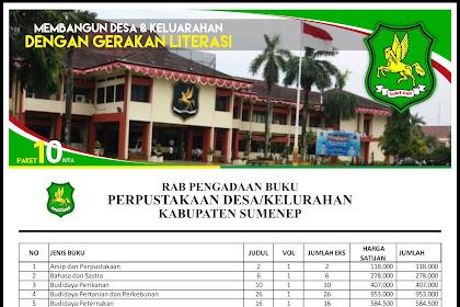 Contoh RAB Pengadaan Buku Perpustakaan Desa Kabupaten Sumenep Provinsi Jawa Timur Paket 10 Juta