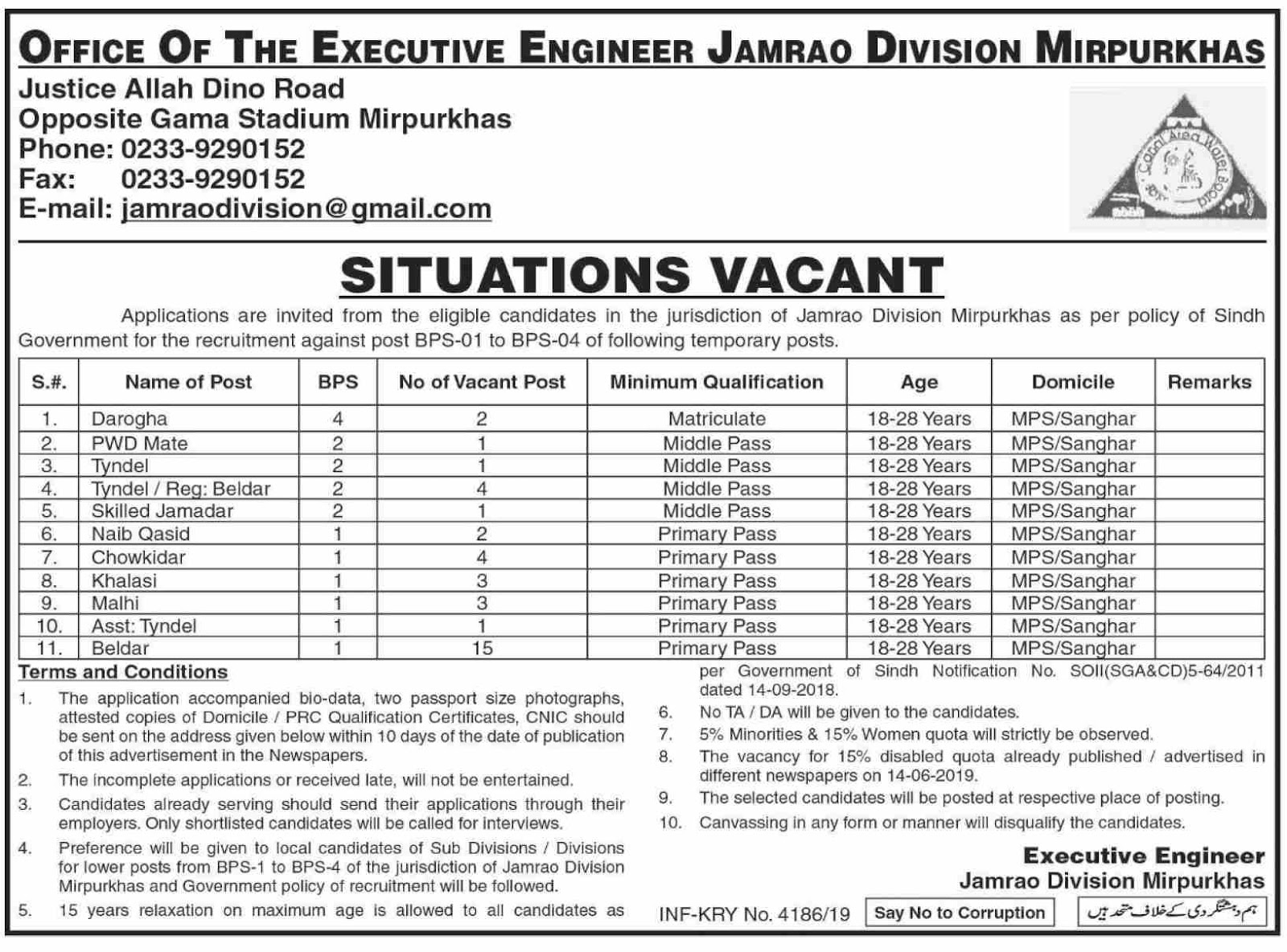 Advertisement for the Office of the Executive Engineer Jobs