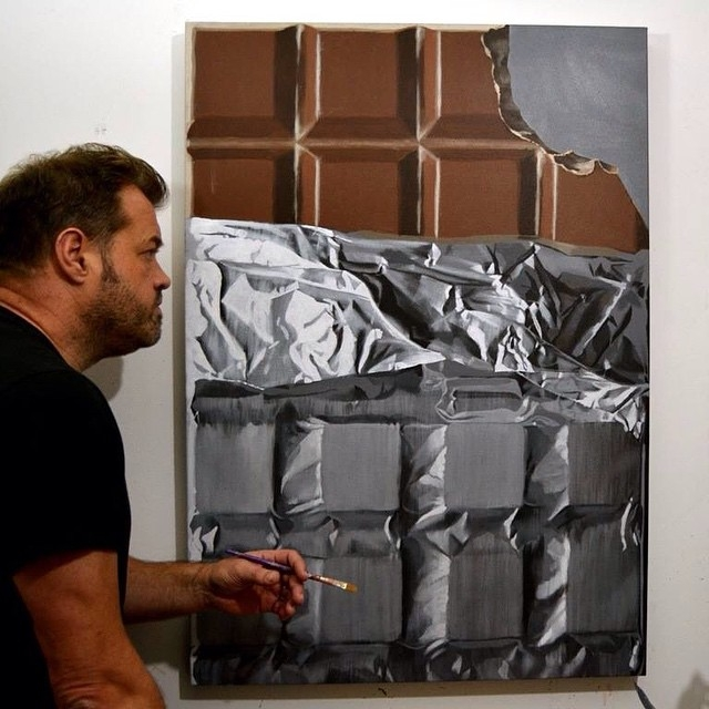 03-Chocolate-Bar-Peter-Slade-Hyper-Realistic-Paintings-Acrylic-on-Canvas-www-designstack-co