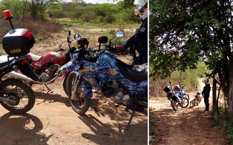 Os acusados após perseguição abandonaram a moto na zona rural de Tabira – Foto: Divulgação/S1 Notícias