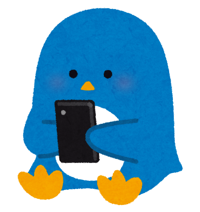 スマートフォンを使うペンギンのイラスト