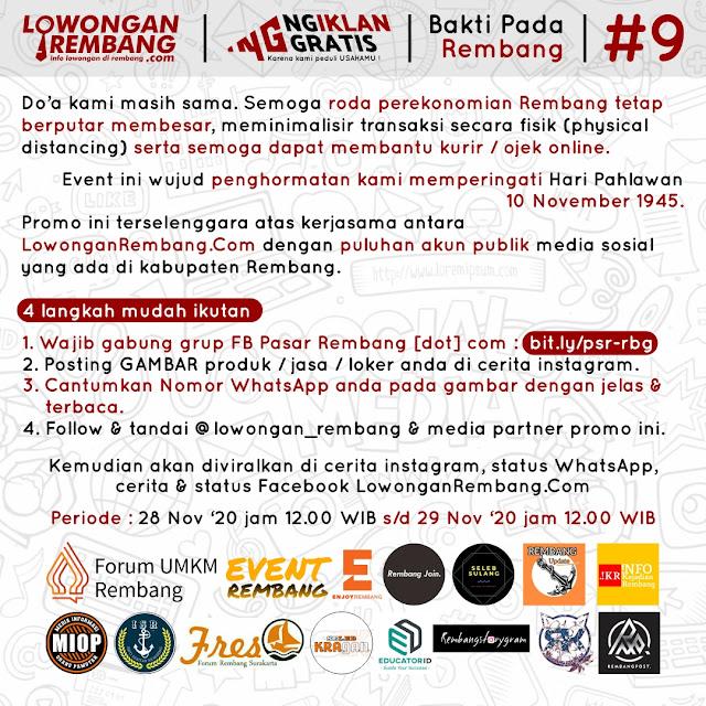 Peringati Hari Pahlawan Lowongan Rembang Bersama Media Sosial Rembang Selenggarakan Ngiklan Gratis Untuk Ke-9 Kalinya