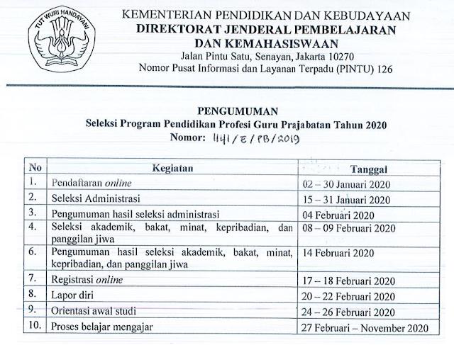 Jadwal Pendaftaran program PPG Prajabatan Tahun 2020