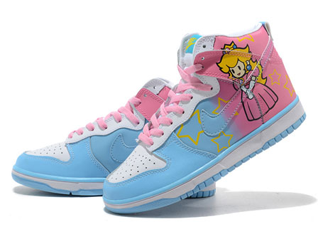Pincess Peach Nike High Tops is the newest version of the super mario nike  dunks series .Together the released  36008e2db