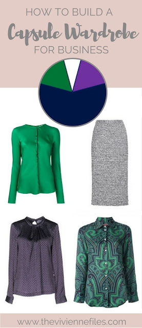 How to Build a Work Capsule Wardrobe in a Navy, with Emerald and Amethyst color palette