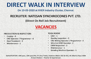 Direct Walk in Interview for Candidates of Iti (Any Trade) / Diploma / Be For Both Freshers & Experienced In Iiiier Industry Cluster, Chennai.