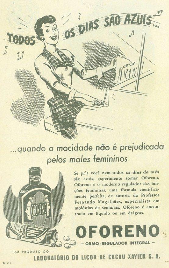 Propaganda de 1953 de um medicamento regulador das funções femininas durante a menstruação