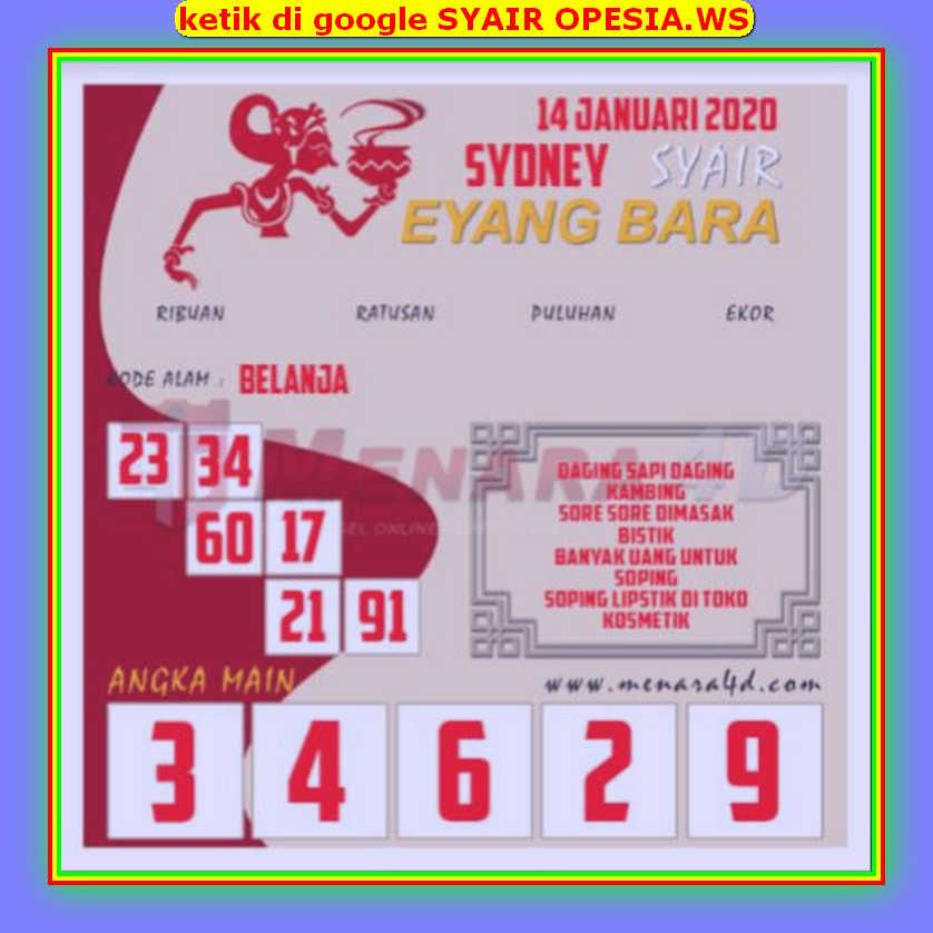 Kode syair Sydney Selasa 14 Januari 2020 109