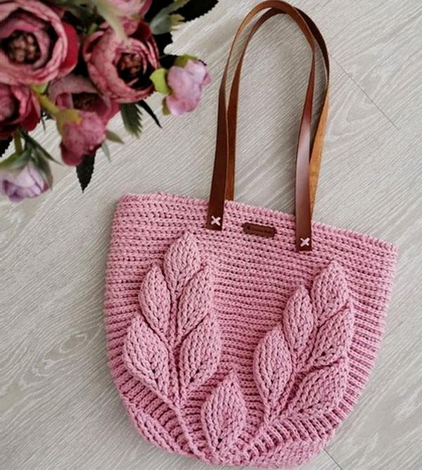 Crochet Bag, Leaf Stitch - Pattern and Tutorial