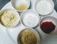 Gram flour, lemon juice,corn flour, chilly paste ginger garlic paste for chicken fry recipe