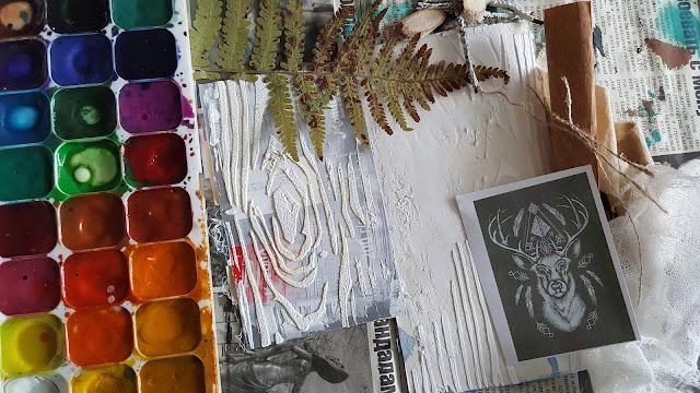 разворот, арт-бук, джанк, микс-медиа, олень, сухоцветы