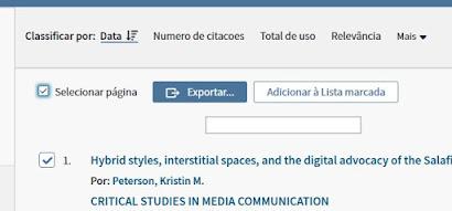 Seleção de todos os artigos na web of science